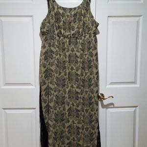 Long Gold and Black print Sundress